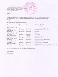 Invitation Letter Certified Translation in Shanghai